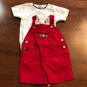 Gymboree short overalls with white T-shirt onesie